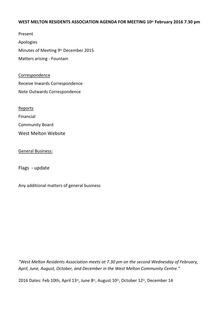 February 10 Agenda