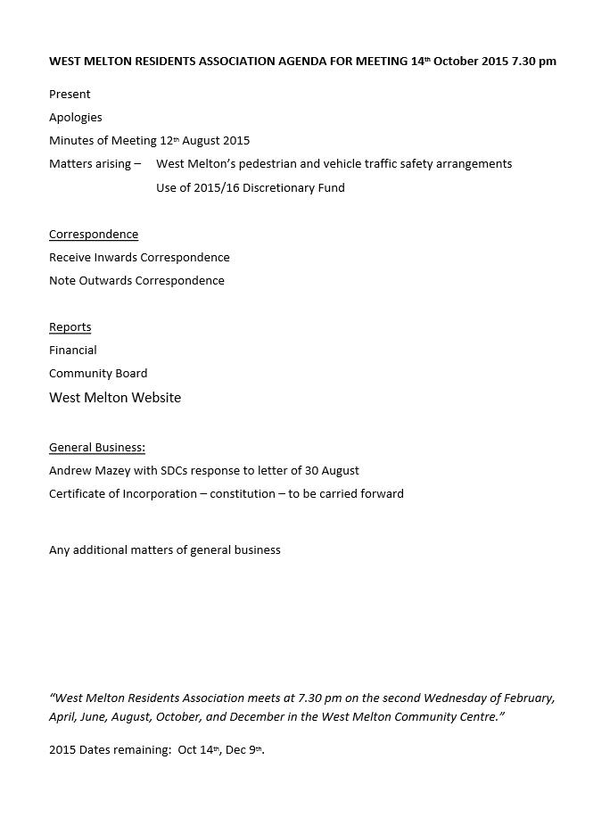 October 14 agenda