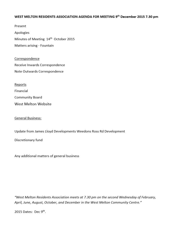 December 9 2015 agenda